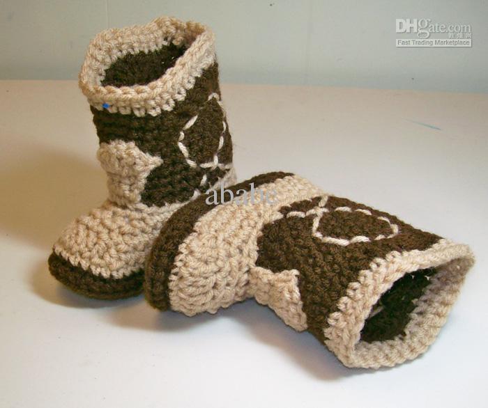 Bébé crochet chaussures chaussons de neige design de cow - boy de coton 0 - 12 M taille 9 pares/lote personnalisé(China (Mainland))