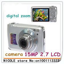 "15MP 2.7"" TFT ZOOM SHOT Anti-Shake digital camera+ 3X digital zoom+ free shipping+tracking number"