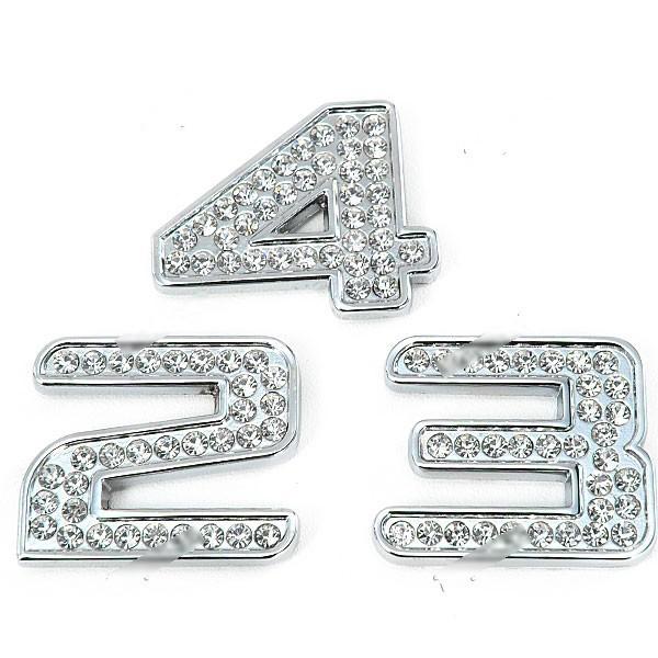 WarmSun Shining Cool 3D Rhinestone + Metal Number Shaped Universal Car Decoration Sticker RST-264231(China (Mainland))