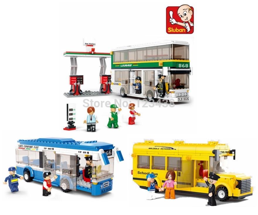 Plastic Building Blocks Sets Single & Double Deck School City Bus Plane DIY Enlighten Bricks Toys Compatible with Lego Toys(China (Mainland))