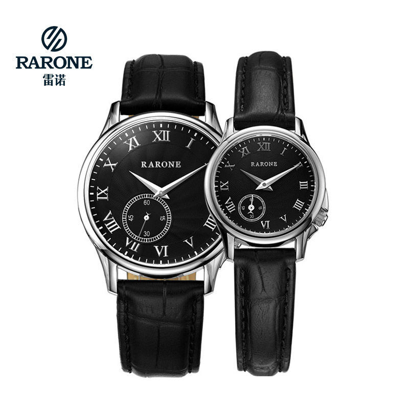 Rarone Business Classic Couple Leather Back Water Resistant Quartz lovers Top Luxury Brand Mechanic Watches Chronograph(China (Mainland))