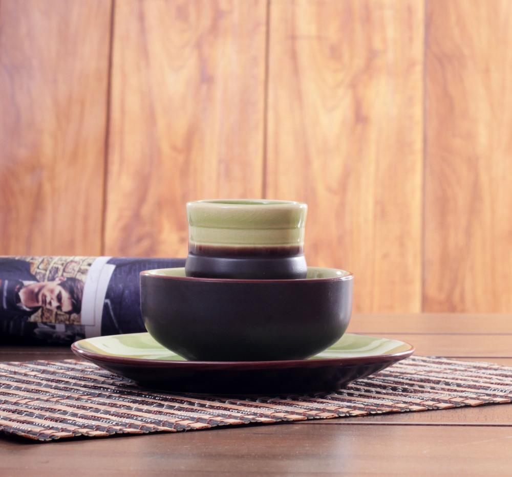 free shipping 2015,NEW hotel swing sets tableware ceramics Japanese-style dishes Binglie green glaze dish Cup Set Restaurant Hot(China (Mainland))