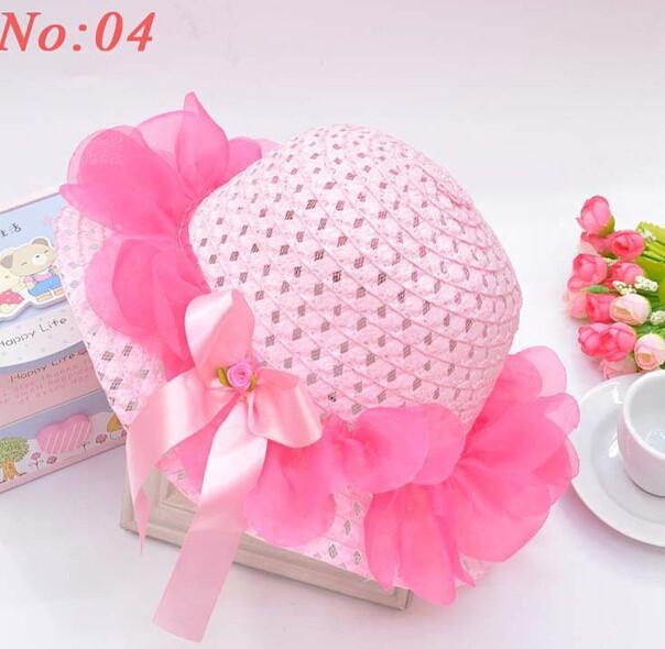 Children's Caps visor sun Hats 2015 lovely baby girl lace flower Straw hat kids beach summer sun cap hat pink 3Y-12Y gift(China (Mainland))