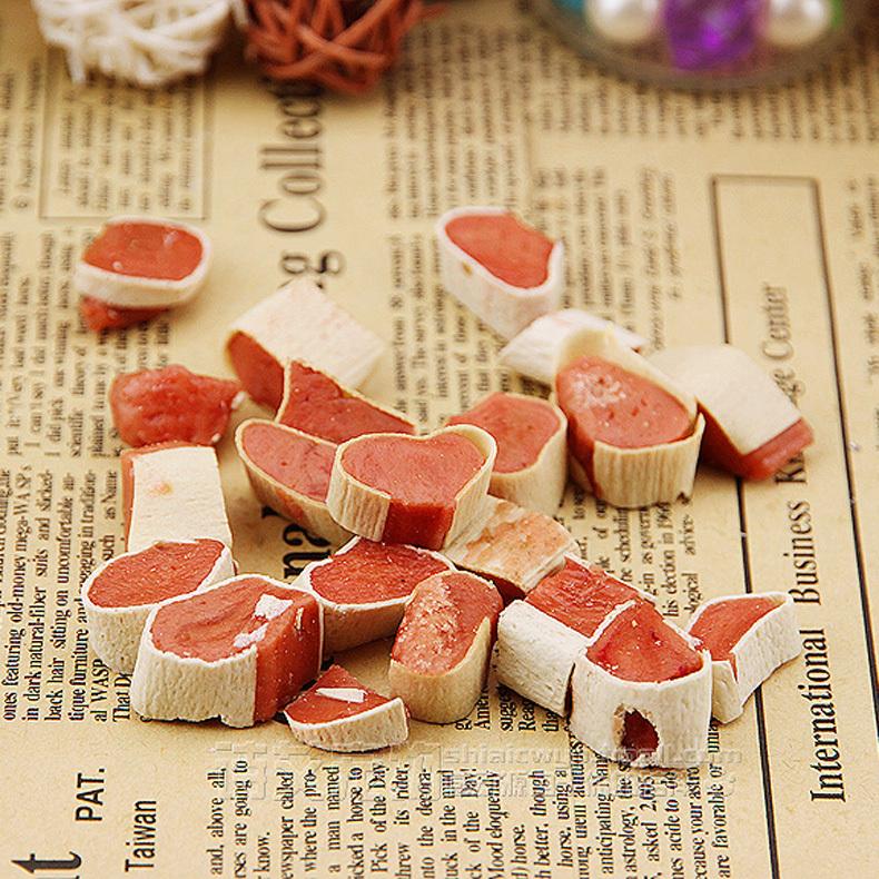 Teddy dog training pet treats dog snacks cod sandwich snack small heart-shaped sushi 100G buy 5 get one(China (Mainland))