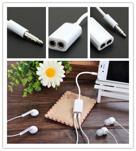 2015 Newest Black/White Universal 3.5mm 1 Male to 2 Female Audio Headphone Splitter Cable, 3.5mm double jack headphone splitter(China (Mainland))