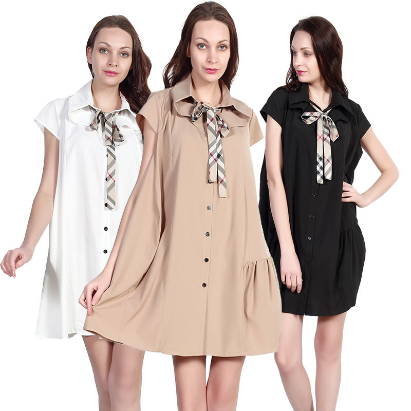 2015 Style Women Dress Ladies Casual Dress Lady Clothing Summer Grid Dress UK Name Brand Female Clothes Top Quality Cotton Dress(China (Mainland))