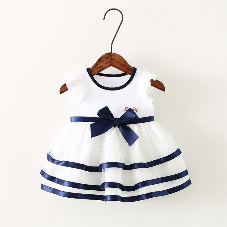 Free shipping! 2015 summer style girl dress Baby girl ribbons bow dress girls vest dress princess dress(China (Mainland))