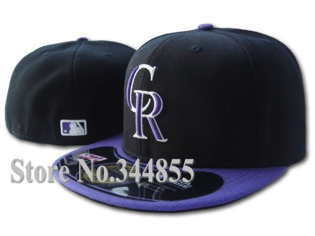 NEW!! Rockies CR Letter Logo Black/Purple Color Baseball Fitted Hats Men's,Sport Full Closed Caps Women's Free Shipping(China (Mainland))