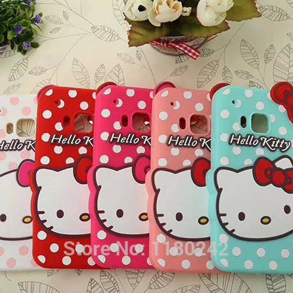 For HTC One M9 Hello Kitty Cat Cartoon Silicone Cell Phone Cover Back Case Free Shipping(China (Mainland))