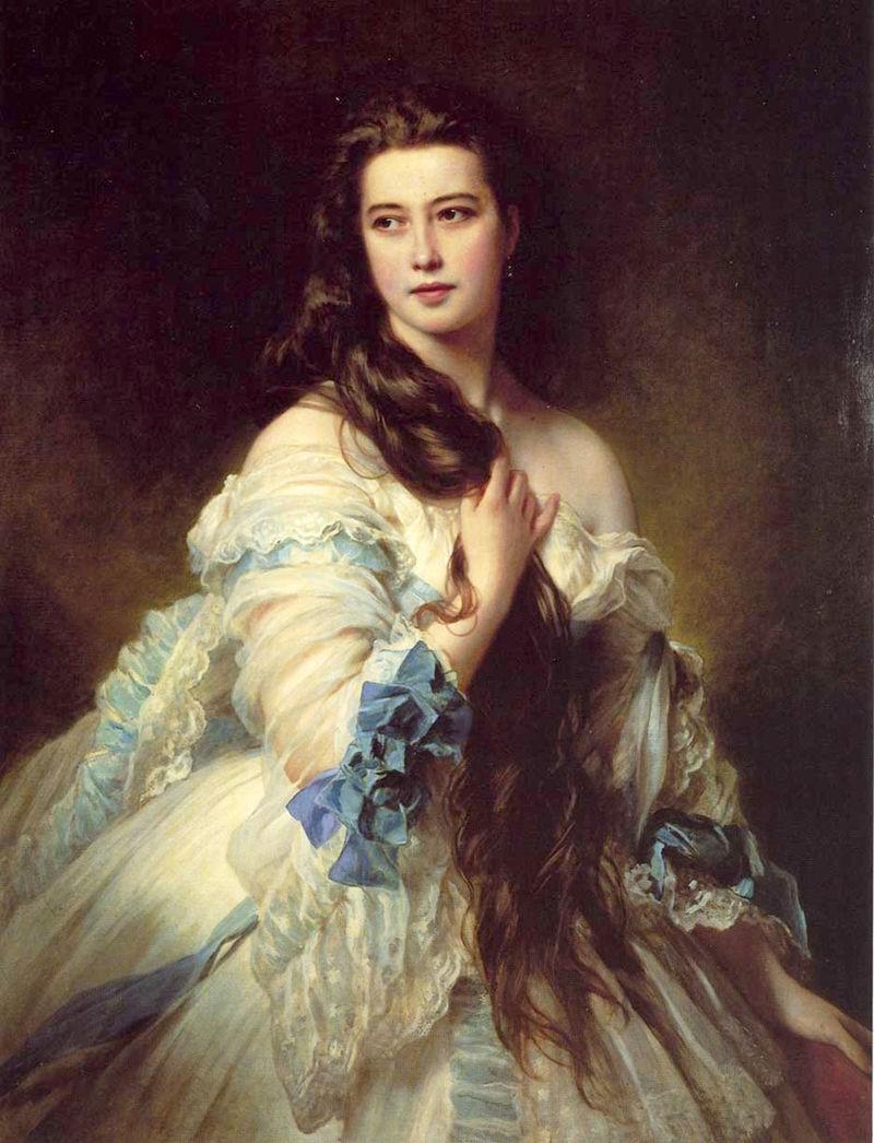 Oil painting beautiful noblewoman Mrs Rimsky - Xhosa Clain & long hair canvas(China (Mainland))
