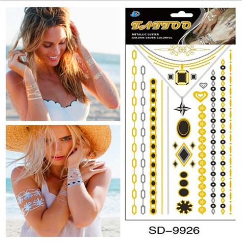 Fashion Jewelry Metallic Gold Silver Tattoo Temporary Tattoos Jewelry flash tattoo Body Bling 1 Style(China (Mainland))