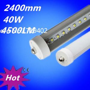 FA8 single pin LED tube light lamp LED fluorescent light tube T8 2400mm 2.4M 8ft SMD2835 192 led 4800lm 40W AC85-265V wholesale(China (Mainland))