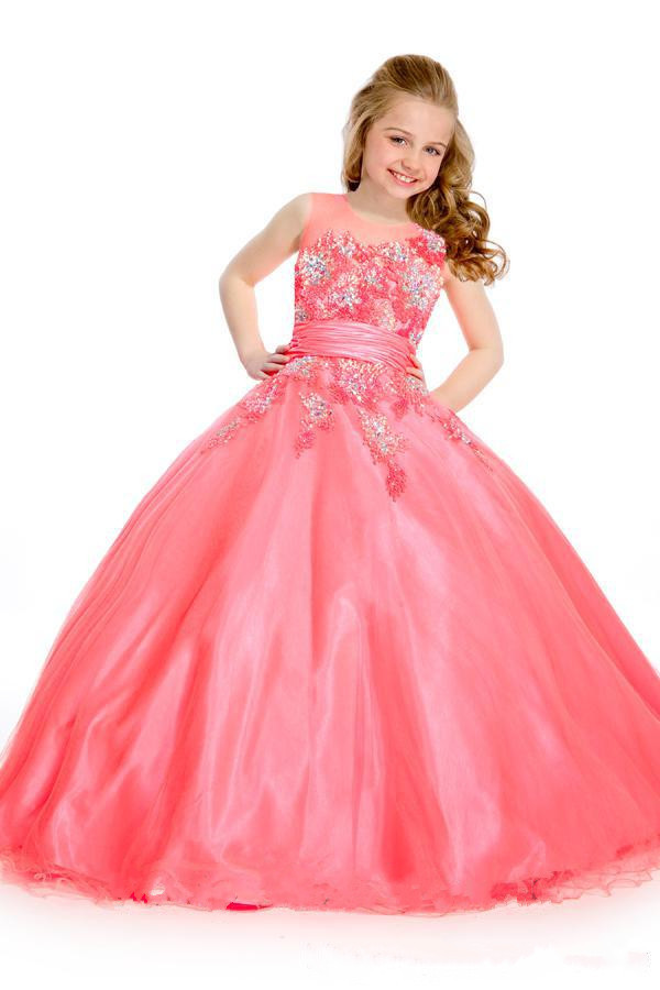 2015Beautiful Coral Princess Flower Girls Dresses Jewel Beads Applique Sash Floor-Length Girl's Pageant Dresses Kids Party Gowns(China (Mainland))