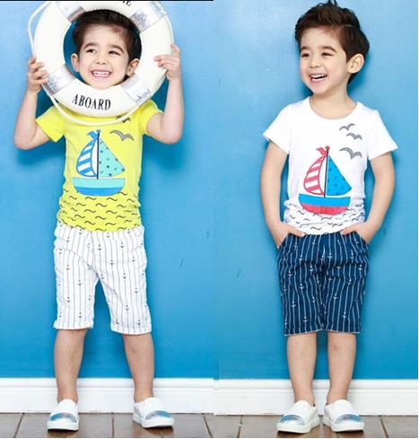 wholesale 5set/lot boy's clothes short sleeve t-shirt pants 2pcs sets baby clothes summer beach sets kids clothes(China (Mainland))