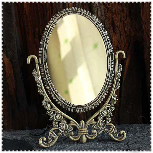 double-face retro bronze foldable alloy metal table makeup dresser desktop cosmetic decorative mirror embossed frame espelho1605(China (Mainland))