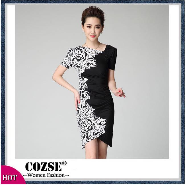 2015 New Fashion European Style Summer Dress Slim Rose Print Dress Women Clothing Free Shipping l3112(China (Mainland))