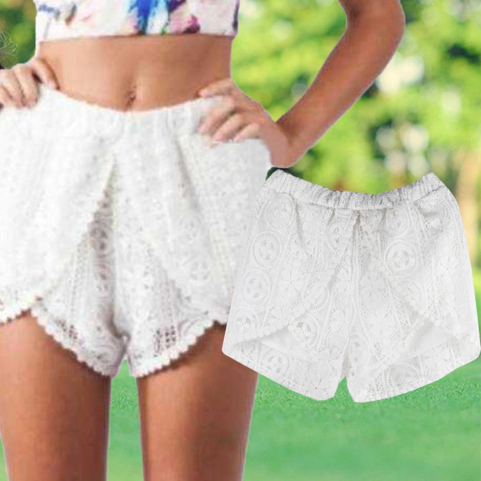 Women Shorts Crochet Lace Shorts White Tiered Mini Short Feminino Layered Irregular Elastic Waist Shorts(China (Mainland))