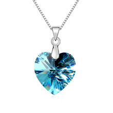 2015 Original Crystal Heart Necklaces Made With Genuine Swarovski Brand Love Pendant Silver Chain Elements Women