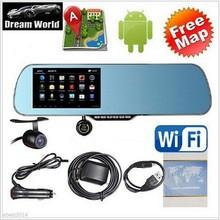 "5"" Capacitive Screen Android 4.4 Vehicle GPS Navigation Car Rearview Mirror GPS Navigator 8G 1080P Double Car DVR Free Map(China (Mainland))"