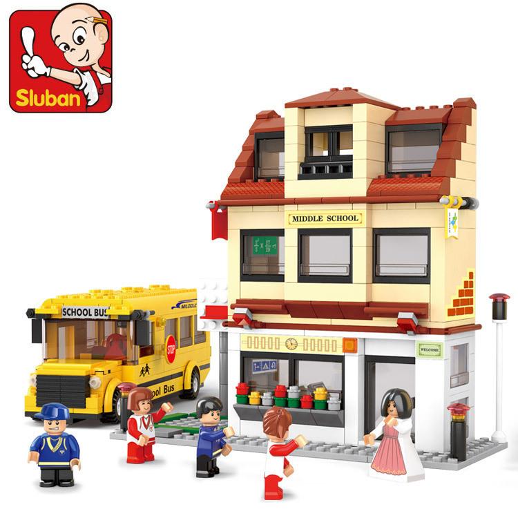 Sluban B0333 Sim City School Bus 3D Construction Plastic Model Building Blocks Bricks Compatible With Lego(China (Mainland))