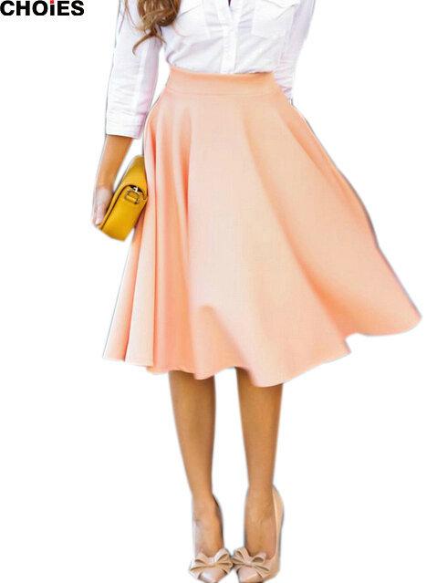Choies женщины идеальный персик розовый складки трапециевидный Saias Femininas вспыхнул завышенная талия миди фигурист юбка S-XL быстрый корабль