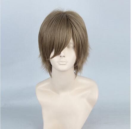 Free Shipping New Fashion New Adult Flax Short Straight Wig Cosplay Basketball Man Wig+Free Wig Cap(China (Mainland))