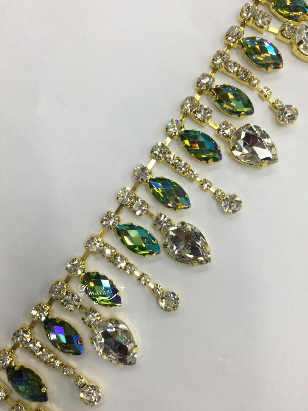 Free shipment Fashion handicrafts costume rhinestone applique color AB rhinestone trims sewing accessories x 1 yard (A590)(China (Mainland))