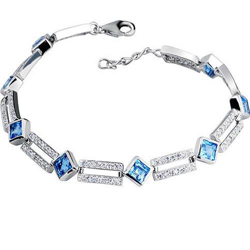 INZOLIA_Free Mail Natural Blue Topaz Stones Elegant Bracelets_S925 Solid Silver Fashion Bracelets_Manufacturer Directly Sales(China (Mainland))