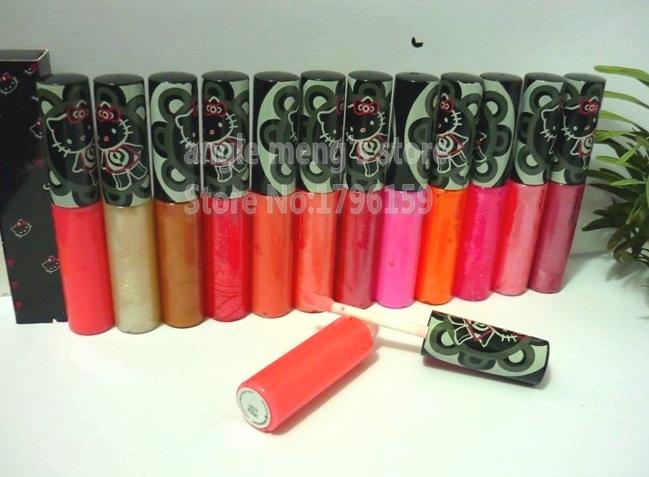 Hot Brand Makeup Lipgloss Hello Kitty Lip Gloss/LipGlass Have 12 Different Colors ( 12Pcs/Lot)(China (Mainland))