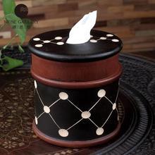 Removableretro creative полые настоящее тик дерево ткань коробка крышка держатель украшение держатель