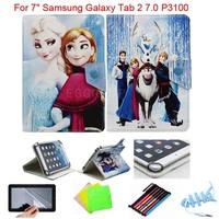 "Cartoon Congelados Princess Elsa Anna Olaf Leather Case For 7"" Samsung Galaxy Tab 2 7.0 P3100 Android Tablet PC"