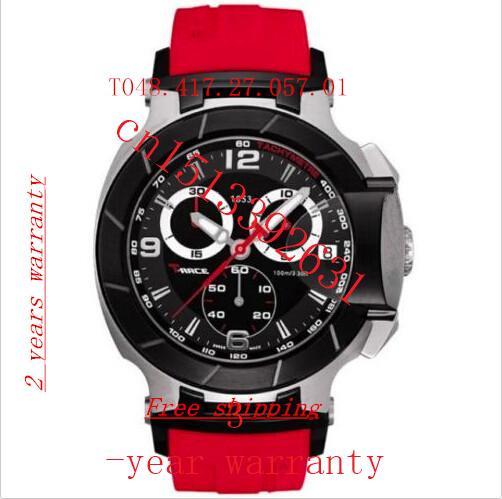 New Red Rubber Strap Mens Sports Quartz Watch Chronograph F1 t048.417.27.057.01 WristWatch + Original Box+logo(China (Mainland))