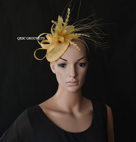 Champagne gold Sinamay Fascinator feather fascinator.(China (Mainland))
