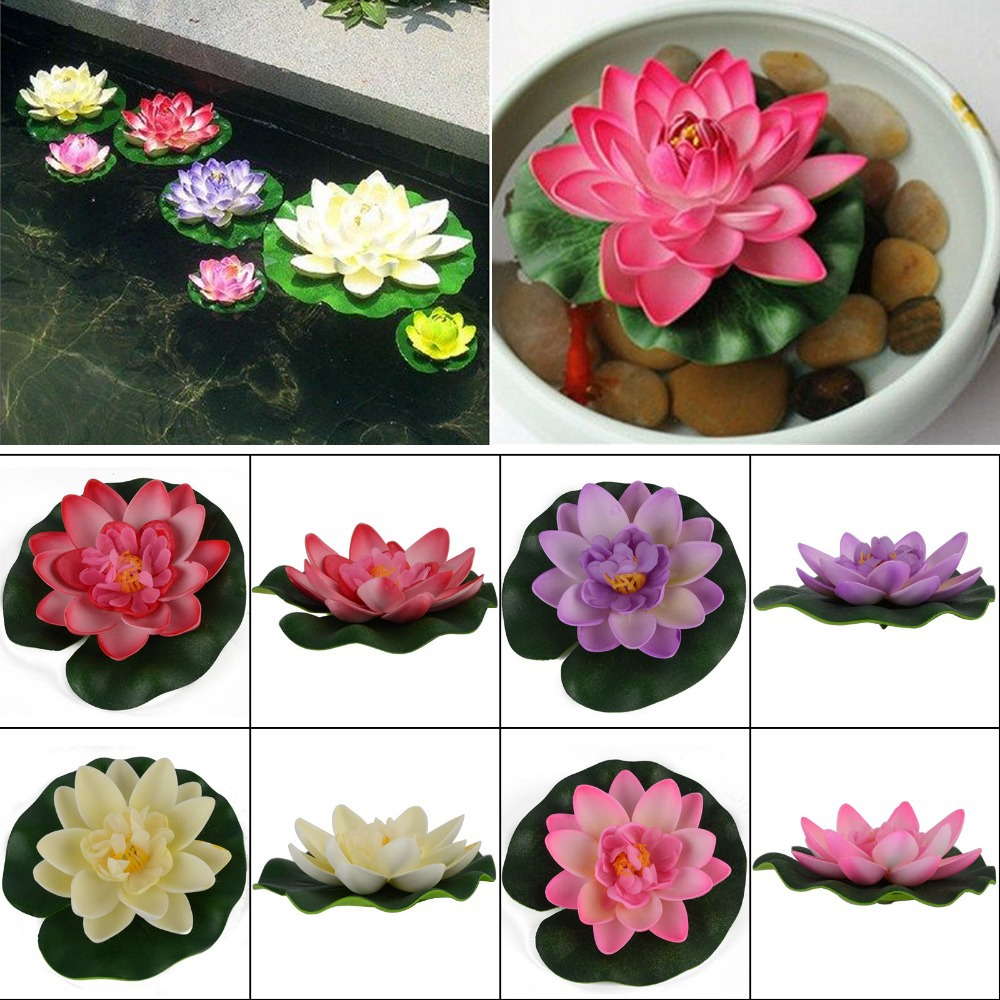 Artificial Floating Lotus Water Lily Aquarium Fish Tank Decor Ornament 4 Color(China (Mainland))