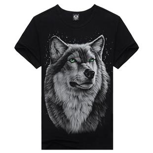 T Shirt Men Hot Selling 2015 Summer Style New 3d Printed Tiger Wolf Skulls Printed Mens T Shirt 100% Cotton Casual Brand T-Shirt(China (Mainland))