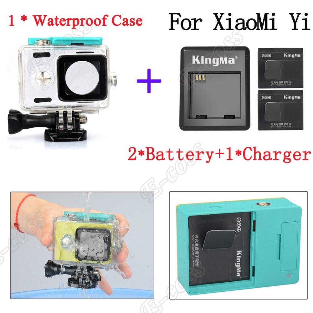 KingMa xiaomi yi action camera accessories Xiao Yi Waterproof housing Case box+Xiaoyi Yi Charger Battery For Xiaomi yi accessory
