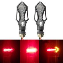 Universal Pair 12LED Black Motorcycle Brake Running Turn Signal Indicators Red Amber Light(China (Mainland))