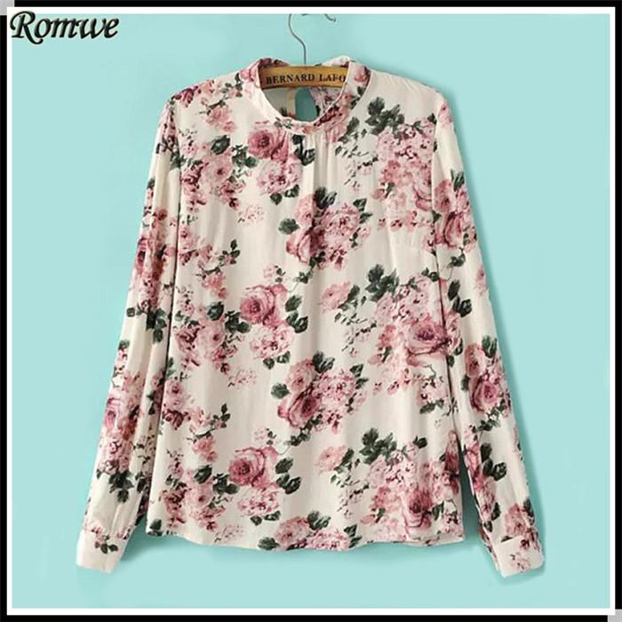 ROMWE Blusa Feminina Womens Tops Fashion 2015 Desigual Floral Print Slim Beige Long Sleeve Chiffon Casual Blouse(China (Mainland))