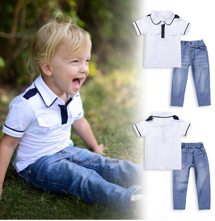 Meninos roupas de verão 2 peça conjuntos de roupas de algodão Denim Top camisas + calças compridas calças Jeans + bonito Getleman Sports Outfit(China (Mainland))