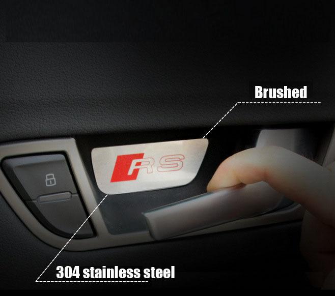 4pcs 304 stainless steel RS Sline car interior wrist sticker car interior decoration for A4 A6(China (Mainland))