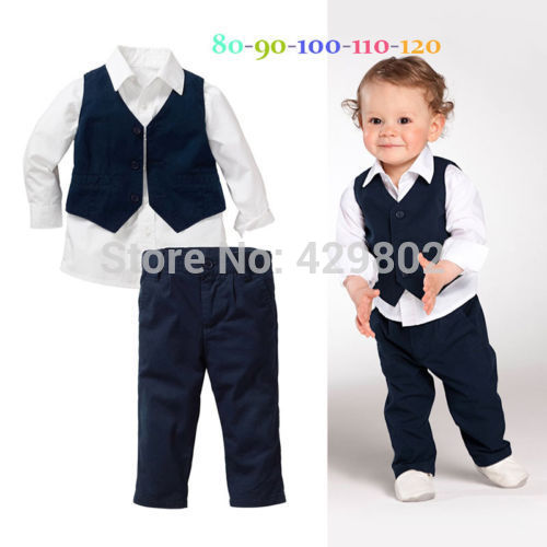 2015 Baby Kids Boys Shirt Tops+Pants+Waistcoat Gentleman 3 PC Suit Set Formal ClothesFree Shipping(China (Mainland))