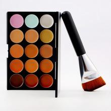 2015 New 15 Colors Professional Multi Colors Contour Face Cream Makeup Concealer Palette Powder Flat Brush(China (Mainland))