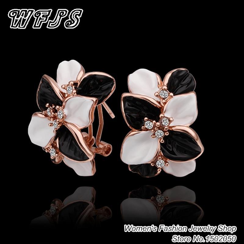 Wedding Jewelry Women Earrings Bijoux 18K Rose Gold Plate Genuine SWA Elements Austrian Crystal Enamel Flower Earring E472(China (Mainland))