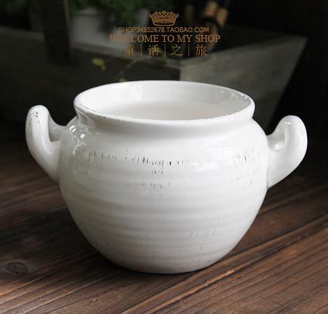 European retro do the old flower pot ceramic flower pots bottle vase ornaments home pendulum simple kettle pot flower ears milk(China (Mainland))