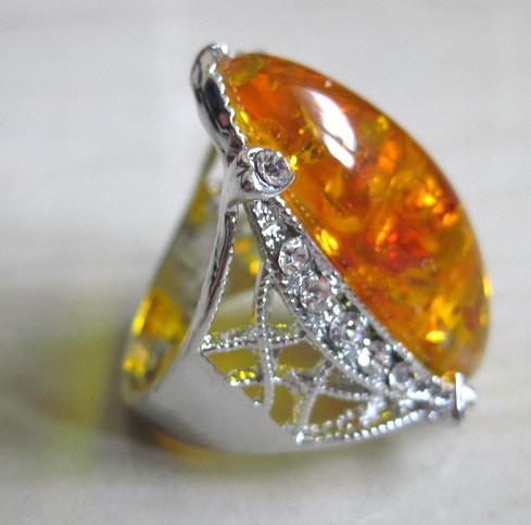 Mulher nova 2015 prata miao inlay âmbar anéis atacado e varejo âmbar anel grátis frete moda jóias de âmbar(China (Mainland))