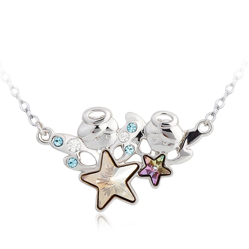2015 NEW Design Fashion Austria Crystal Sweet style Gemini Zwillinge crystal Pendant Necklace Women Festival Gifts Valentine(China (Mainland))