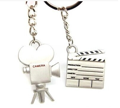 FREE SHIPPING BY DHL 200pairs/lot 2015 New Camera Slate Couple Keychains Movie Videos Photographer Events with Gifts Souvenirs(China (Mainland))