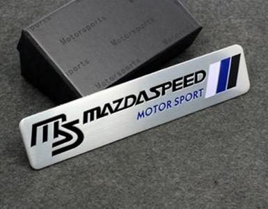 Aluminum 120MMX26MM white+blue+black MS logo Mazdaspeed Motorsport stickers Mazda emblem badge(China (Mainland))