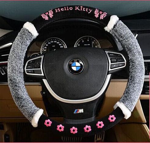 Hot selling !!! Universal 38cm hello kitty winter plush Lattice pink gray red girl women car steering wheel covers free shipping(China (Mainland))