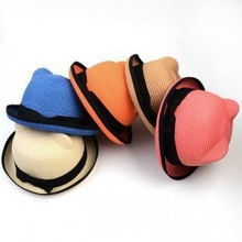 Hot Sale Cute Cartoon Cat Ears Hat Fashion Baby Fedoras Handmade Straw Hat Wholesale 041KKT(China (Mainland))